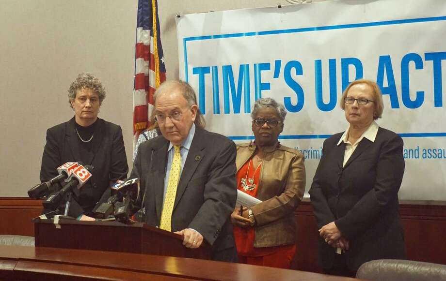 Senate President Pro Tempore Martin Looney D-New Haven introduced the Time's Up Act, a legislative package that revises sexual assault and sexual harassment laws, with other Senate Democrats in a news conference at the Capitol Tuesday morning. Senators Beth Bye  D-West Hartford (left), Senator Marilyn Moore D-Bridgeport (right) and Senator Terry Gerratana D-New Britain (far right) answered questions about the act with Looney. Photo: Emilie Munson