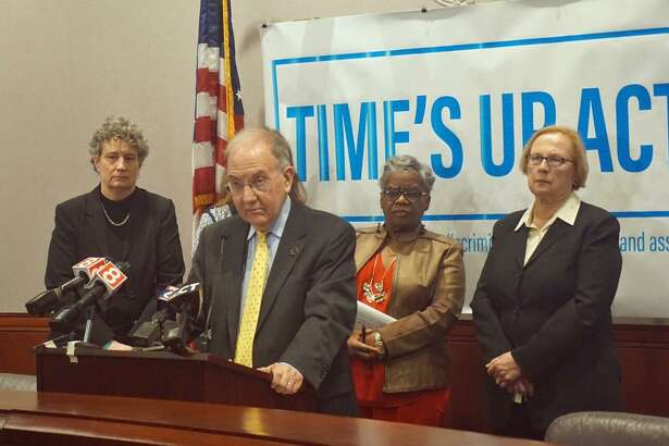 Senate President Pro Tempore Martin Looney D-New Haven introduced the Time's Up Act, a legislative package that revises sexual assault and sexual harassment laws, with other Senate Democrats in a news conference at the Capitol Tuesday morning. Senators Beth Bye  D-West Hartford (left), Senator Marilyn Moore D-Bridgeport (right) and Senator Terry Gerratana D-New Britain (far right) answered questions about the act with Looney.