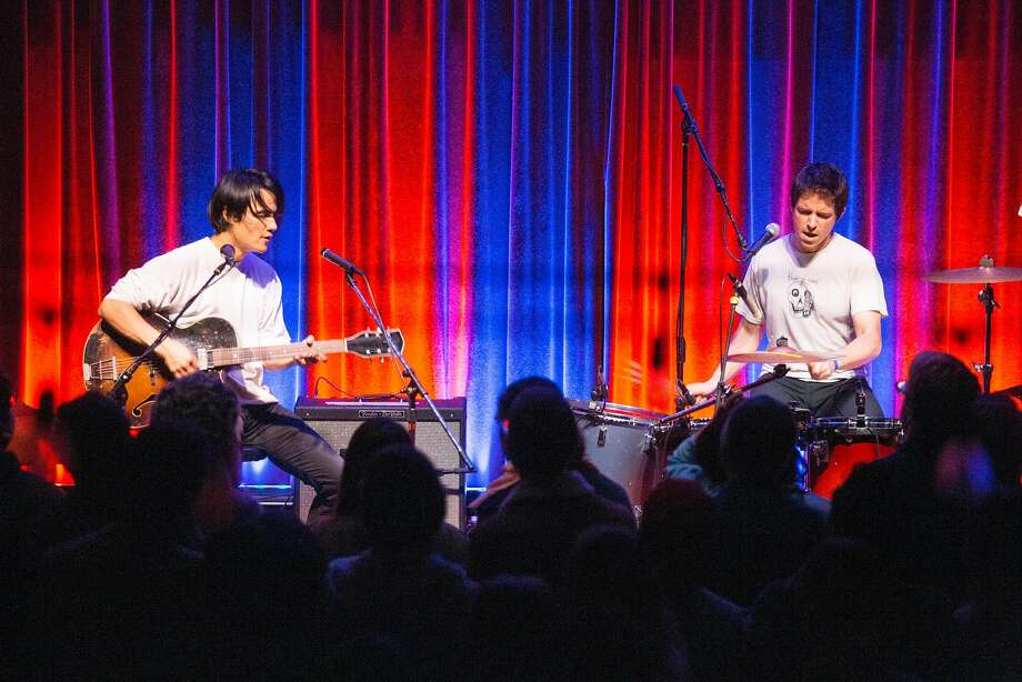 "From left,  Meric Long and Logan Kroeber of The Dodos play their entire 2008 album ""Visiter"" during opening night at the 26th annual Noise Pop festival at the Swedish American Hall Monday night, February 19, 2018. Photo: Brian Feulner, Special To The Chronicle"