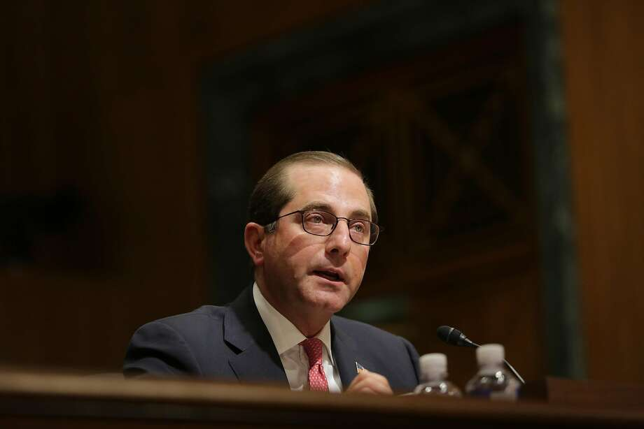 Health and Human Services Secretary Alex Azar testifies before the Senate Finance Committee about his department's 2019 budget request, on Capitol Hill in Washington, Feb. 15, 2018. The Trump administration took another swipe at the Affordable Care Act on Feb. 20, proposing new rules that would make it much easier for consumers to buy less expensive health insurance policies that do not comply with coverage requirements of the law. (Lawrence Jackson/The New York Times) Photo: LAWRENCE JACKSON, NYT
