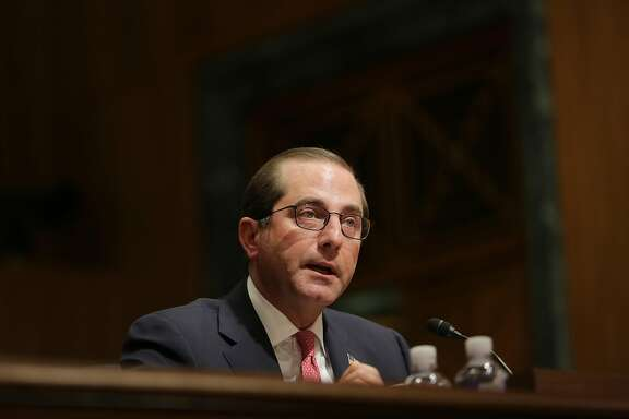 Health and Human Services Secretary Alex Azar testifies before the Senate Finance Committee about his department�s 2019 budget request, on Capitol Hill in Washington, Feb. 15, 2018. The Trump administration took another swipe at the Affordable Care Act on Feb. 20, proposing new rules that would make it much easier for consumers to buy less expensive health insurance policies that do not comply with coverage requirements of the law. (Lawrence Jackson/The New York Times)