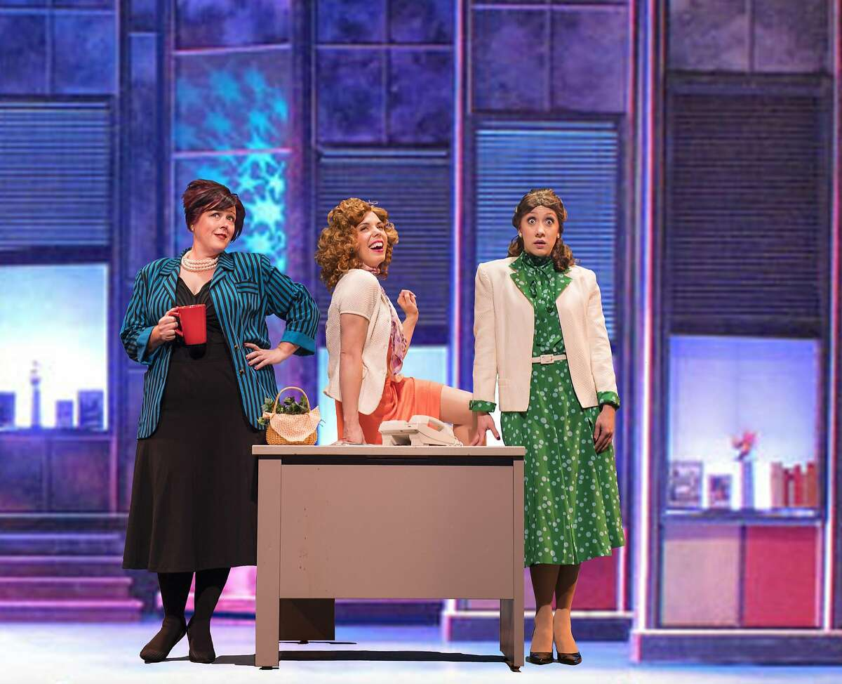 """From left:�Violet (Glenna Murillo), Doralee (Allie Townsend) and Judy (Rachelle Abbey) team up against their sexist boss in """"9 to 5 The Musical,"""" presented by Foothill Music Theatre."""