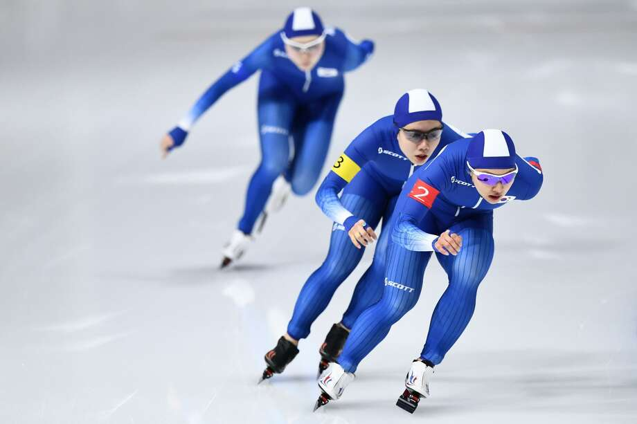 (Front to back) South Korea's Kim Bo-Reum, Park Ji Woo and  Noh Seon-Yeong compete in the women's team pursuit speed skating event during the Pyeongchang 2018 Winter Olympic Games at the Gangneung Oval in Gangneung on February 19, 2018. Photo: ARIS MESSINIS/AFP/Getty Images