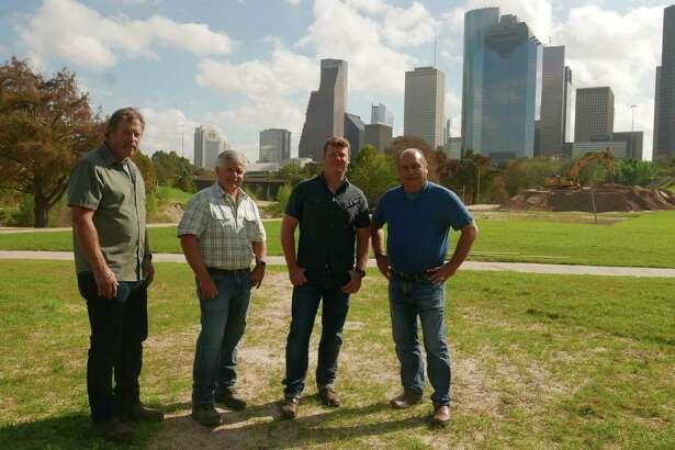 """From left,Roger Cook, Tom Silva, Kevin O'Connor, Richard Trethewey of """"Ask This Old House."""" They were in Houston in November 2017 to film segments for a Hurricane Harvey cleanup episode that will air on PBS on Saturday, Feb. 24, 2018."""