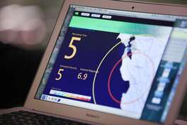 ShakeAlert early warning system simulation of a repeat of the Lomo Prieta earthquake is displayed on the computer of Richard Allen (not shown), UC Berkeley Seismological Laboratory director, after he spoke during a press conference on BART's earthquake preparedness at the Embarcadero BART station on Monday, August 25,  2014 in San Francisco,  Calif.