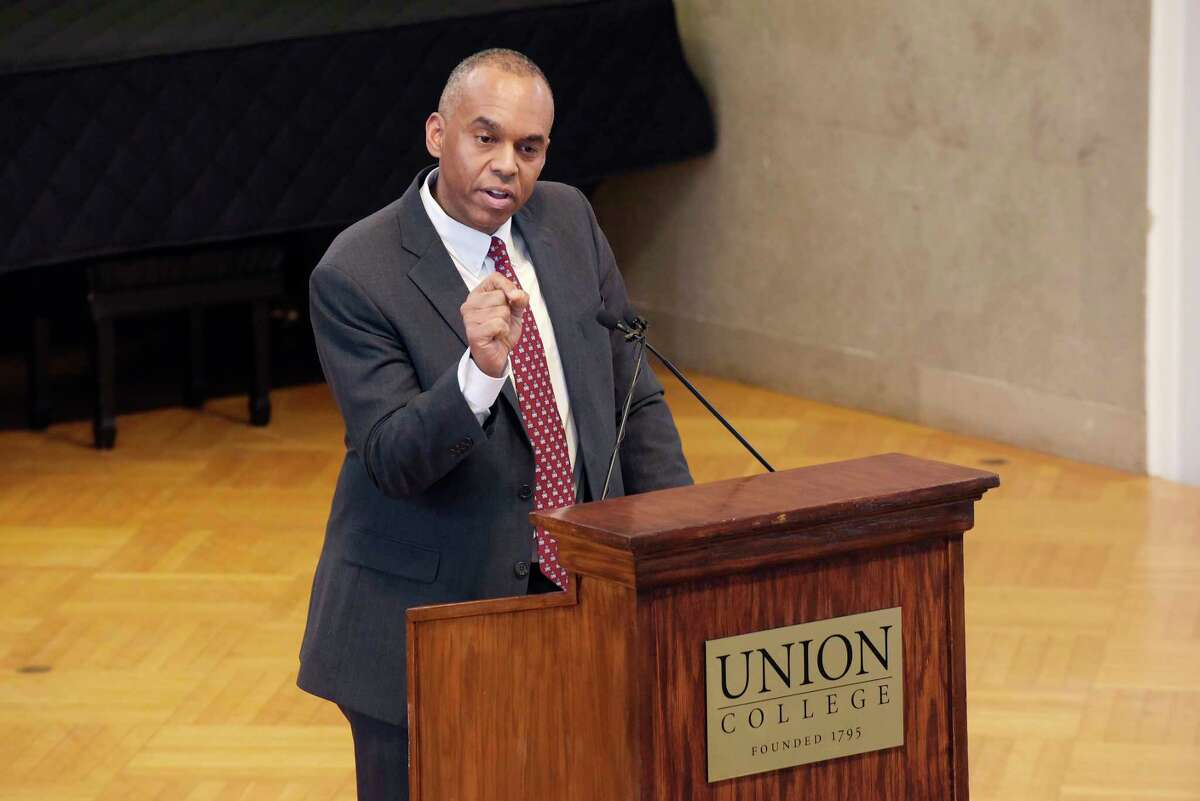 Newly announced president of Union College, David Harris, addresses those gathered at an event at Union College to introduce Harris on Tuesday, Feb. 20, 2018, in Schenectady, N.Y. (Paul Buckowski/Times Union)