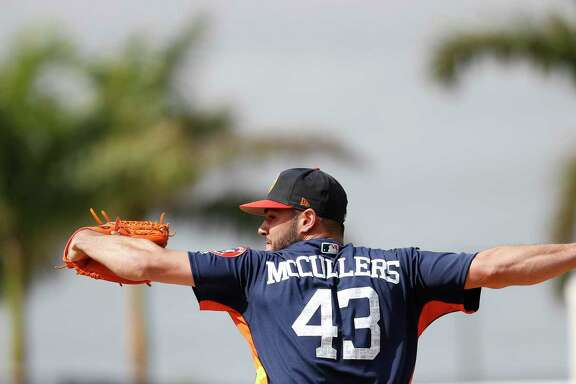 Lance McCullers Jr., here throwing live BP on Tuesday in West Palm Beach, earned All-Star status in 2017 but threw just 271⁄3 regular-season innings after the break.