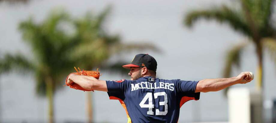 Houston Astros RHP pitcher Lance McCullers Jr. (43) throws live batting practice during spring training at The Ballpark of the Palm Beaches, Tuesday, Feb. 20, 2018, in West Palm Beach.   ( Karen Warren / Houston Chronicle ) Photo: Karen Warren, Staff / © 2018 Houston Chronicle