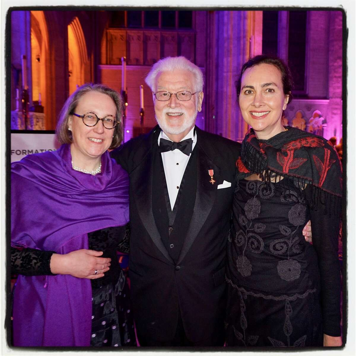 Stanford University Religious Studies Dean Jane Shaw (left) with former Grace Dean Alan Jones and her partner, Sarah Ogilvie at Carnivale. Feb. 13, 2018.