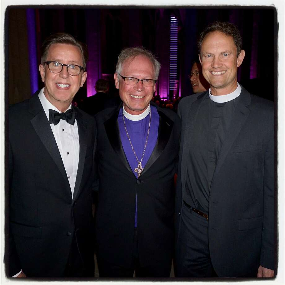 Grace Cathedral Board chairman David Walker (left), Episcopal Bishop of California Marc Andrus and Grace Cathedral Dean Dr. Malcolm Clemens Young Feb. 13, 2018. Photo: Catherine Bigelow, Special To The Chronicle