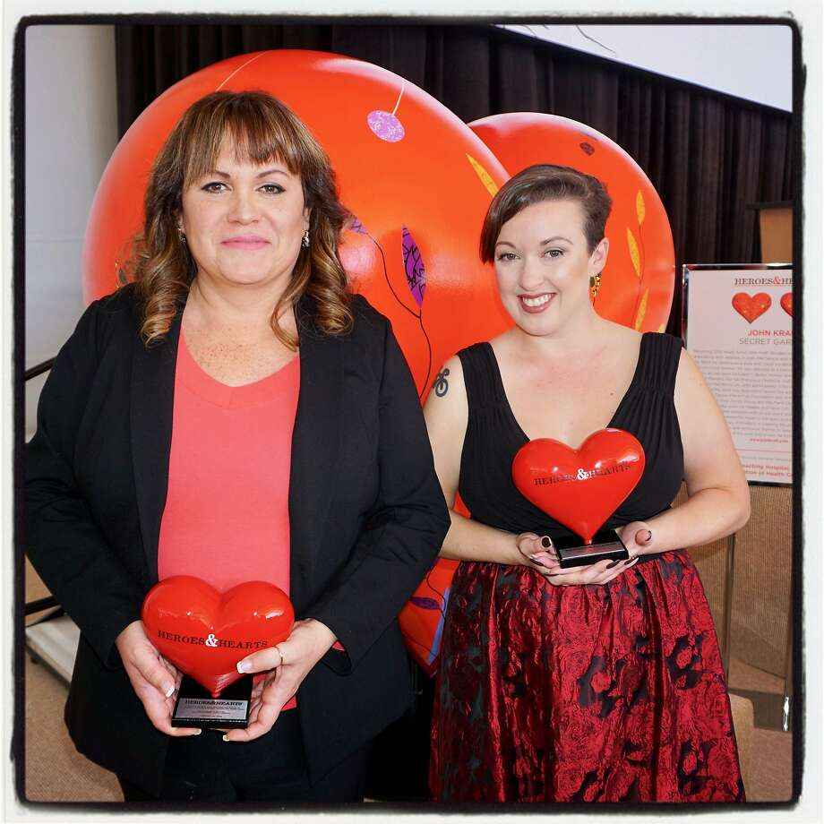Heroes & Hearts honorees Karen Aguilar (left) and Caroline Watson at AT&T Park Feb. 15, 2018. Photo: Catherine Bigelow, Special To The Chronicle