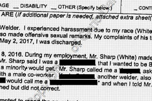 An excerpt of the complaint filed by Zachery Brinker with the Teas Workforce Commission, according to Harris County court records. The Chronicle has redacted the alleged slurs and the name of one employee.
