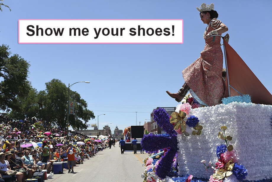 """Show me your shoes!""Shout these words to Fiesta royalty during one of the parades to catch a glimpse of their fancy custom footwear. Photo: Lisa Krantz"