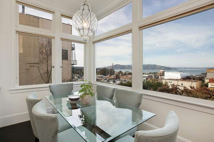 The Golden Gate Bridge is visible from the eat-in kitchen.�