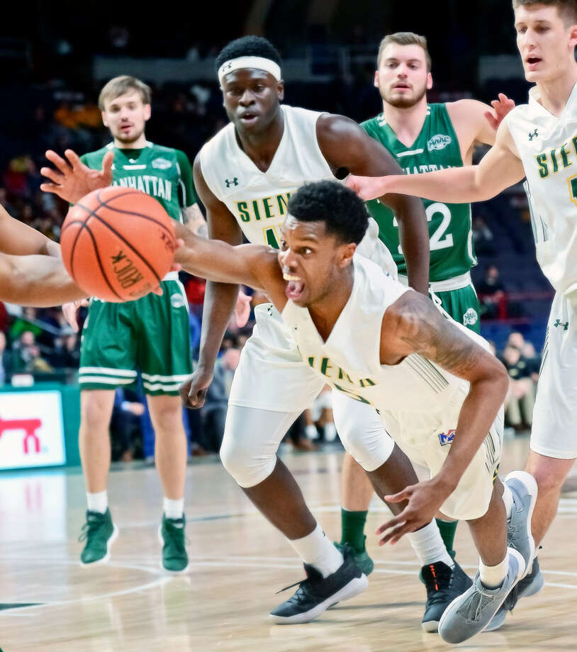 "Siena head coach Jimmy Patsos said he appreciates how Kadeem Smithen ""answered the bell"" this season. (John Carl D'Annibale/Times Union)"