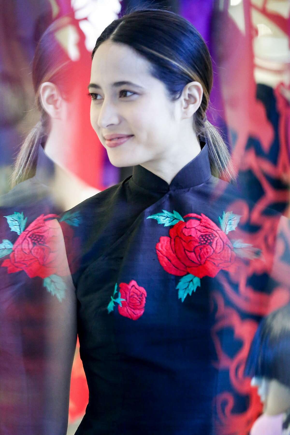 Cecilia Chiang's fashions that she designed herself in honor of Lunar New Year at Saks Fifth Avenue on Friday, February 15, 2018 in San Francisco, California.