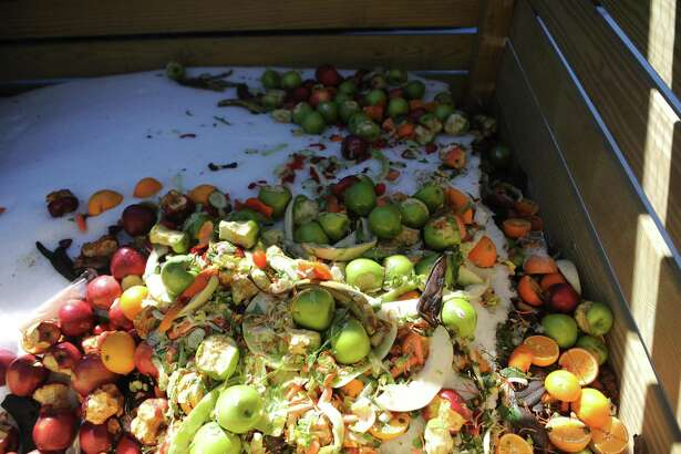 Fruit and vegetable scraps sit in the compost bin at Hamilton Avenue School in the Chickahominy section of Greenwich, Conn. Wednesday, March 22, 2017. Hamilton Avenue is one of the Greenwich schools currently using a composting system, and Greenwich High School is looking to soon begin composting as well.