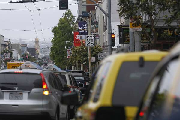 Traffic screeches to a halt at Howard and Fifth streets where red light cameras are installed in San Francisco, Calif. on Thursday, May 28, 2015. Mayor Ed Lee is pushing a plan to activate additional traffic cameras which would capture photographs of drivers that exceed the speed limit in certain areas throughout the city.