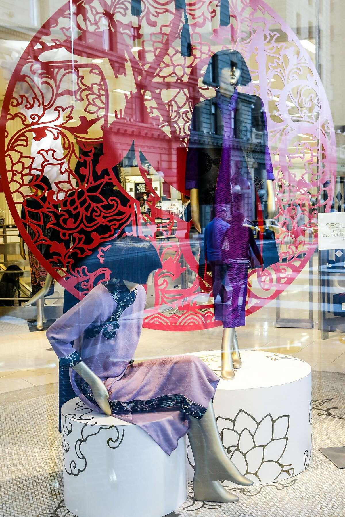 Cecilia Chiang's fashions that she designed in honor of Lunar New Year are seen at Saks Fifth Avenue on Friday, February 15, 2018 in San Francisco, California.