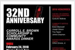 The West Haven Black Coalition's 32nd Annual Carroll E. Brown Scholarship & Community Awards dinner will take place Saturday, Feb. 24, 2018 at the Fantasia Banquet Facility, 400 Washington Ave. in North Haven, beginning at 4 p.m.Tickets are $65 per person, with checks payable to West Haven Black Coalition Inc. For tickets or more information, call 203-314-1695 or e-mail whbc86@yahoo.com.