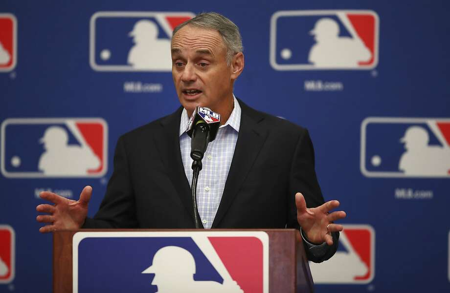 Baseball Commissioner Rob Manfred gestures while speaking during a Major League Baseball owners meeting on Tuesday, Feb. 20, 2018 in Glendale, Ariz. (AP Photo/Ben Margot) Photo: Ben Margot, Associated Press