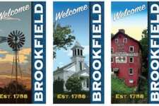 A Brookfield artist created banners to decorate the new lamp posts downtown.