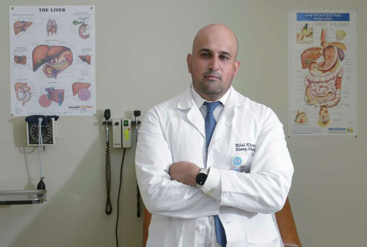 Dr. Bilal Khan, a pulmonary critical care and intensive care doctor at the Norwalk Hospital Thursday, February 15, 2018, at the hospital in Norwalk, Conn. Khan has just returned from a humanitarian medical mission to Puerto Rico, where he set up a medical tent in Vieques.