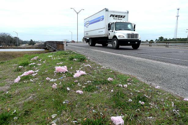 Debris is scattered along the roadside on U.S. 69 in Beaumont. Photo taken Monday, February 5, 2018 Kim Brent/The Enterprise