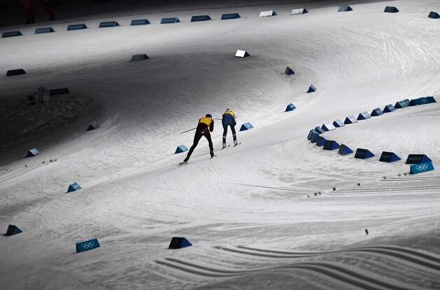 Athletes compete during the women's 4x5km classic free style cross country relay at the Alpensia cross country ski centre during the Pyeongchang 2018 Winter Olympic Games on February 17, 2018 in Pyeongchang. Photo: FRANCK FIFE/AFP/Getty Images