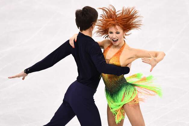 Russia's Tiffani Zagorski and Russia's Jonathan Guerreiro compete in the ice dance short dance of the figure skating event during the Pyeongchang 2018 Winter Olympic Games at the Gangneung Ice Arena in Gangneung on February 19, 2018. Photo: ARIS MESSINIS/AFP/Getty Images