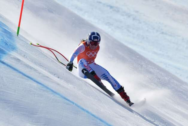 USA's Breezy Johnson takes part in the 3rd training of the Alpine Skiing Women's Downhill at the Jeongseon Alpine Center during the Pyeongchang 2018 Winter Olympic Games in Pyeongchang on February 20, 2018. Photo: DIMITAR DILKOFF/AFP/Getty Images
