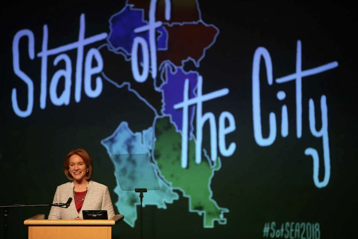 Seattle Mayor Jenny Durkan delivers her first State of the City address at Rainier Beach High School, Tuesday, Feb. 20, 2018. She laid out a Seattle Promise School Tuition plan, offering two years of community college education to every graduate of a public high school.