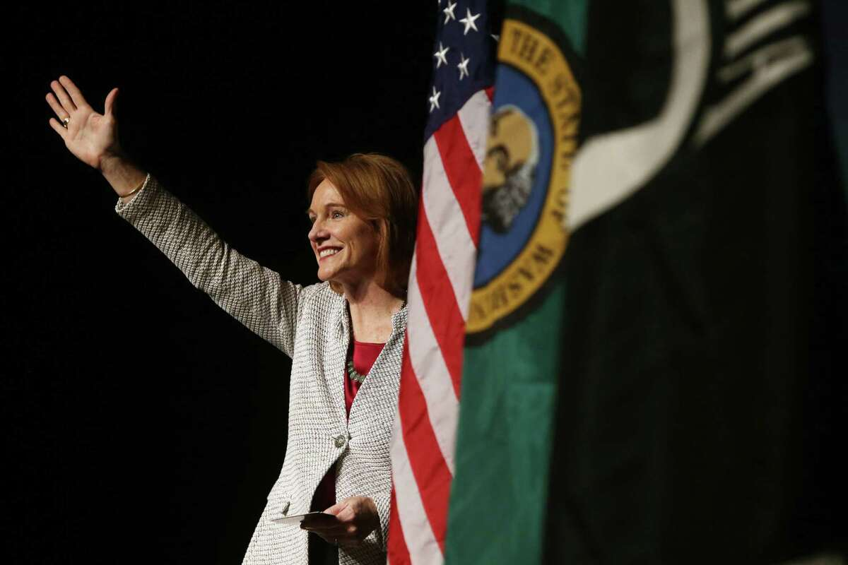 Seattle Mayor Jenny Durkan delivers her first State of the City address at Rainier Beach High School, Tuesday, Feb. 20, 2018. She is now putting on the table a $5.9 billion proposed 2019-20 budget.