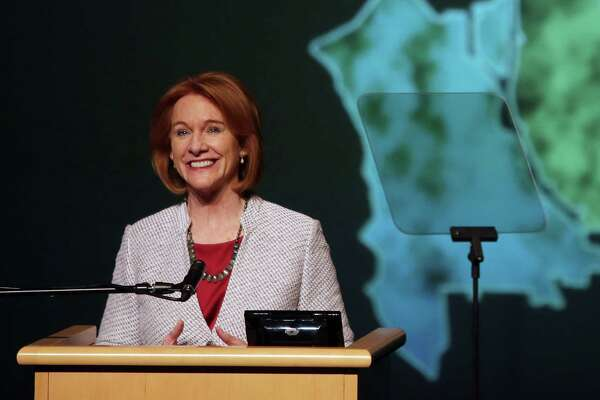 Seattle Mayor Jenny Durkan delivers her first State of the City address at Rainier Beach High School, Tuesday, Feb. 20, 2018.