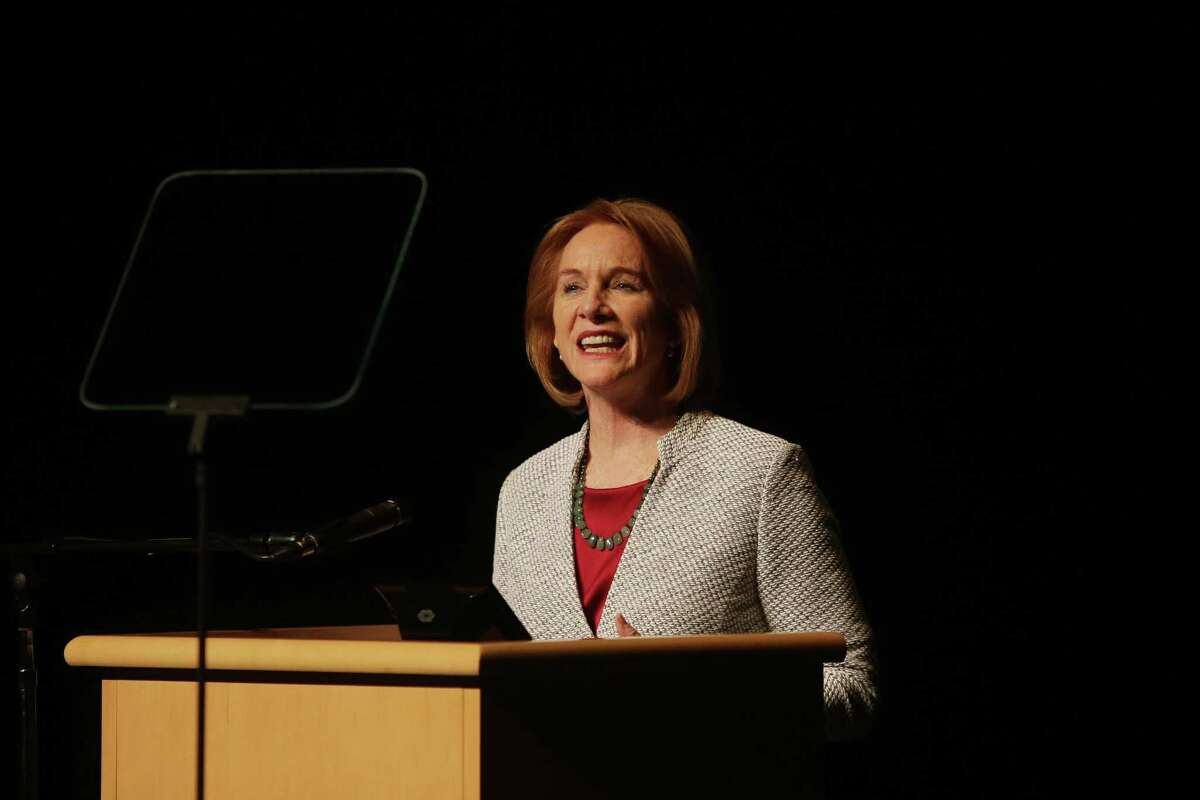 Seattle Mayor Jenny Durkan delivers her first State of the City address at Rainier Beach High School, Tuesday, Feb. 20, 2018. She has just announced creation and preservation of 1,400 affordable housing units.