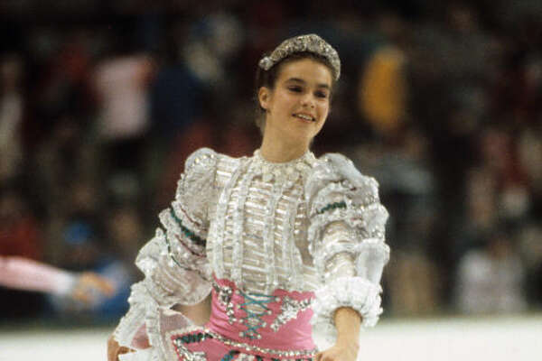 7) 1984: Katarina Witt     The East German skater liked to push boundaries with her costumes. This sparkly outfit (and tiara!) helped her secure a place at the top for the competition in Sarajevo, Yugoslavia — the first time the games were held in a socialist country.