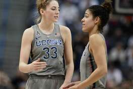 UConn's Katie Lou Samuelson, left, and Kia Nurse are in some select company when it comes to shooting efficiency from the field, the foul line and 3-pointg range.