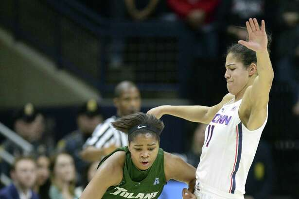 Connecticut's Kia Nurse (11) is fouled by Tulane senior guard Kolby Morgan is guarded by UConn's Kia Nurse in their Jan. 27 game in Storrs. Morgan scored 19 points in last season's near upset of UConn but was held to 1 of 10 shooting in this game.