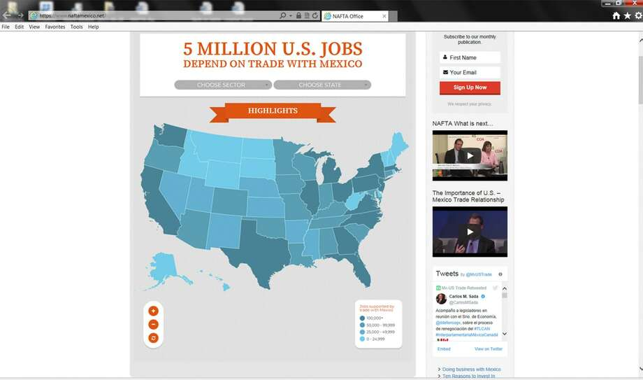 "In a Screengrab, the Mexican government launches an interactive, English-language, ""NAFTA Works"" website, which follows Mexico's private sector strategy of promoting the pact directly to U.S. interests. Photo: Screengrab /"