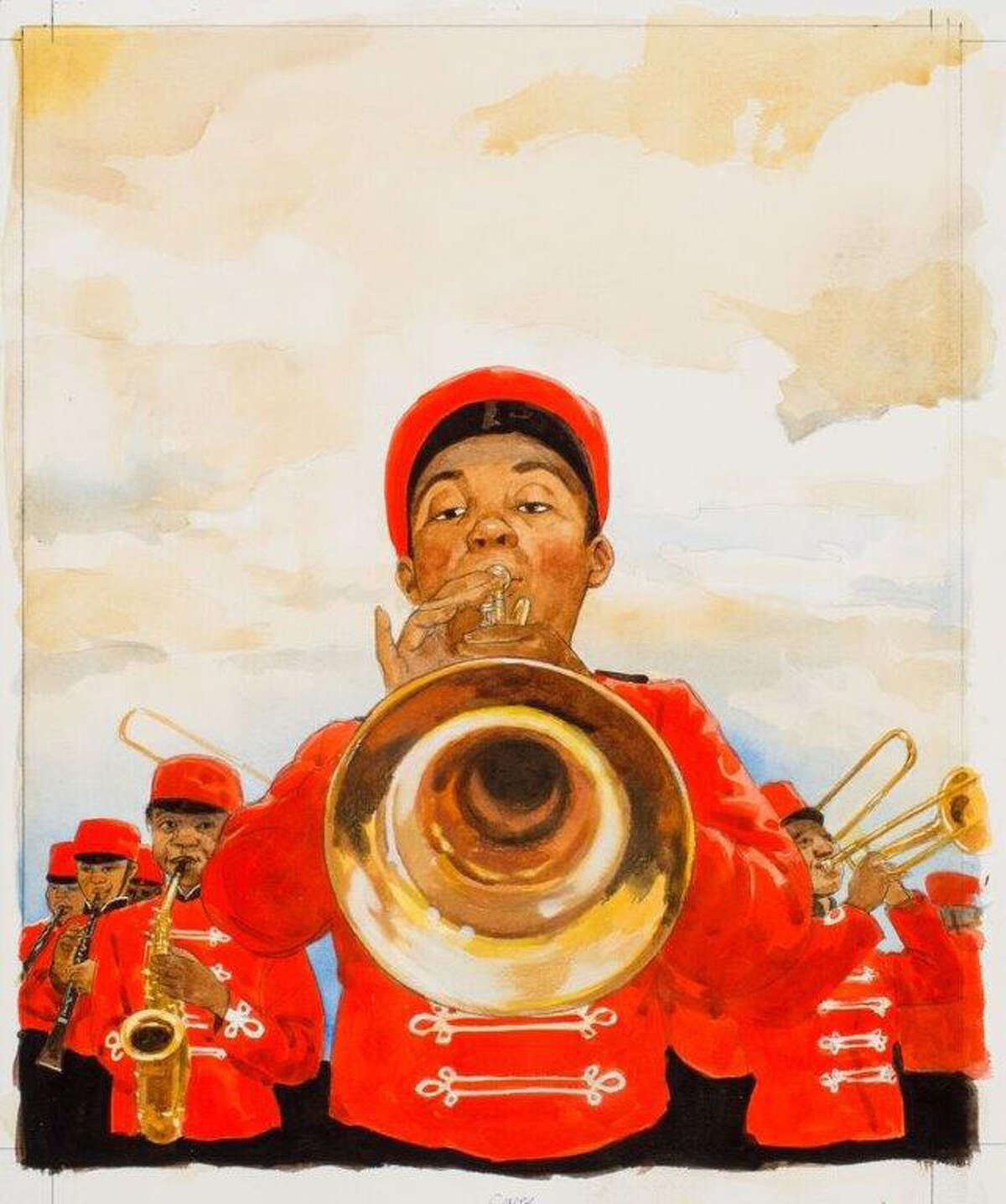 """An illustration from the book """"Just a Very Lucky So and So: The Story of Louis Armstrong"""" by James Ransome."""