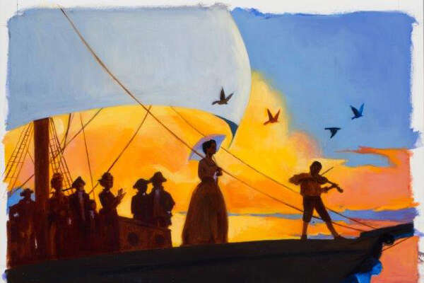 """An illustration from the book """"Words Set Me Free"""" by artist/illustrator James Ransome."""