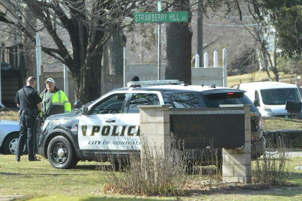 """Norwalk High School students were dismissed early after the school lifted a """" Shelter Alert"""" after police and school security investigated a report of a weapon at the school on Tuesday February 20, 2018 in Norwalk Conn."""