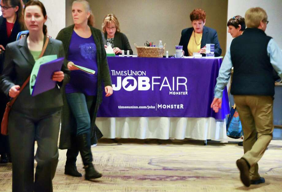 Job seekers pour into the TU Health Career Job Fair with hospitals, nursing homes, other health care providers recruiting at the Albany Marriott hotel Tuesday Feb. 20, 2018 in Colonie, NY.  (John Carl D'Annibale/Times Union) Photo: John Carl D'Annibale / 20042975A