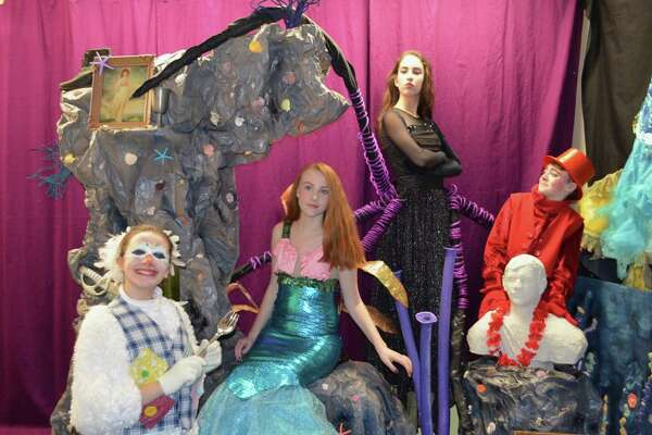 "Kidz Konnection will stage the children's musical, ""The Little Mermaid"" in Clinton March 9-11. From left are Alizza Supik of Clinton as Scuttle; Rebecca Kavanaugh of Clinton as Ariel; Rebecca Dollahite of Madison as Ursula; and AJ Supik of Clinton as Sebastian."