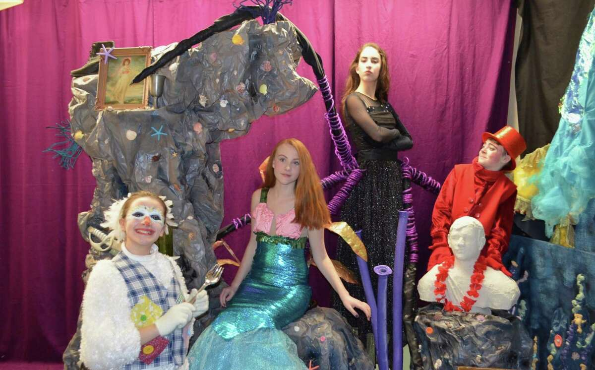 """Kidz Konnection will stage the children's musical, """"The Little Mermaid"""" in Clinton March 9-11. From left are Alizza Supik of Clinton as Scuttle; Rebecca Kavanaugh of Clinton as Ariel; Rebecca Dollahite of Madison as Ursula; and AJ Supik of Clinton as Sebastian."""