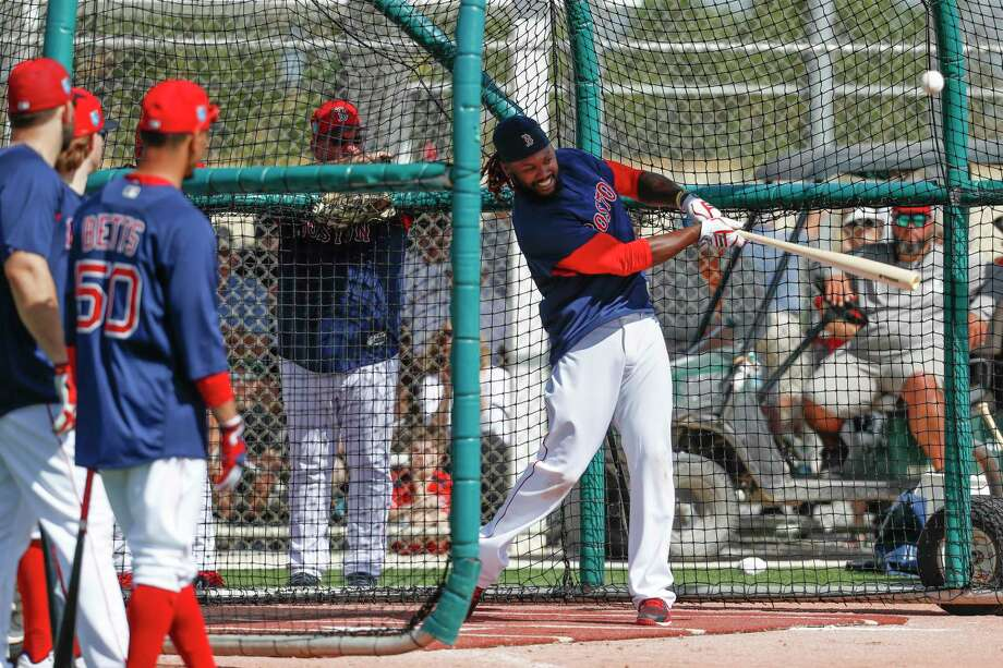 Boston Red Sox's Hanley Ramirez takes batting practice during spring training baseball, Tuesday, Feb. 20, 2018, in Fort Myers, Fla. (AP Photo/John Minchillo) Photo: John Minchillo / AP