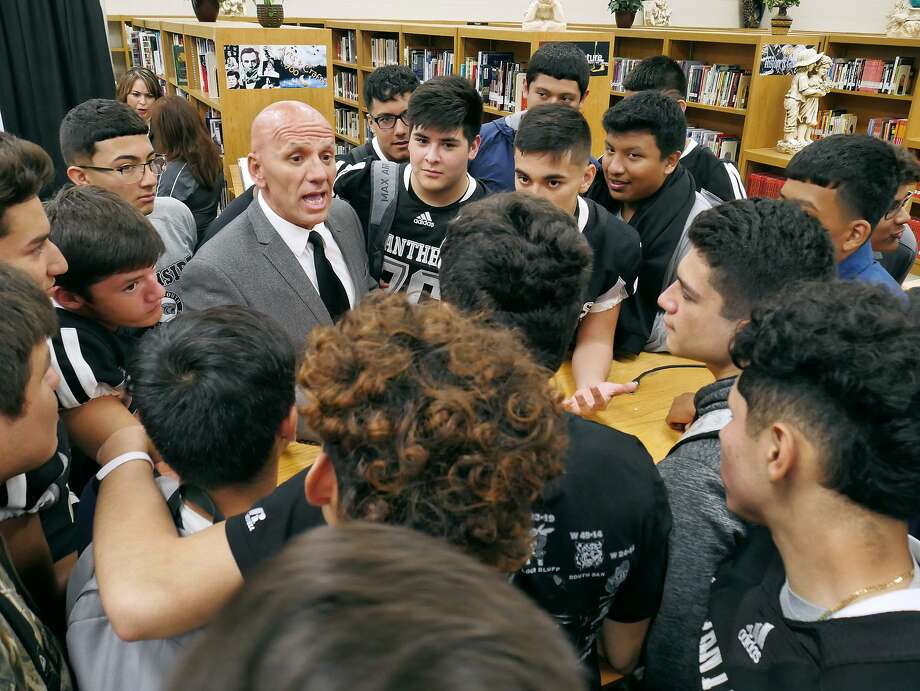 At his introductory press conference Tuesday, new United South campus coordinator and football head coach Joe Coss said his priority is building relationships with athletes which will lead to success on the field. Photo: Cuate Santos /Laredo Morning Times / Laredo Morning Times