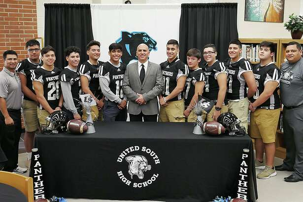 United South High Panthers new Athletic Coordinator, Jose Coss was introduced at a press conference at the school's library, Tuesday, February 20, 2018.
