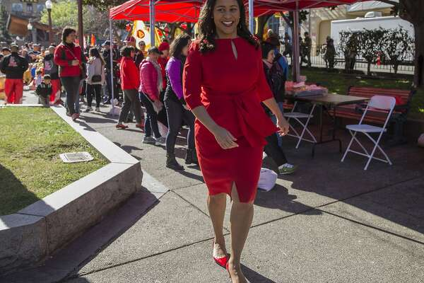San Francisco Board of Supervisors President London Breed walks through Portsmouth Square during the kick-off event for Chinese New Year in Chinatown Friday, Feb. 16, 2018 in San Francisco, Calif.
