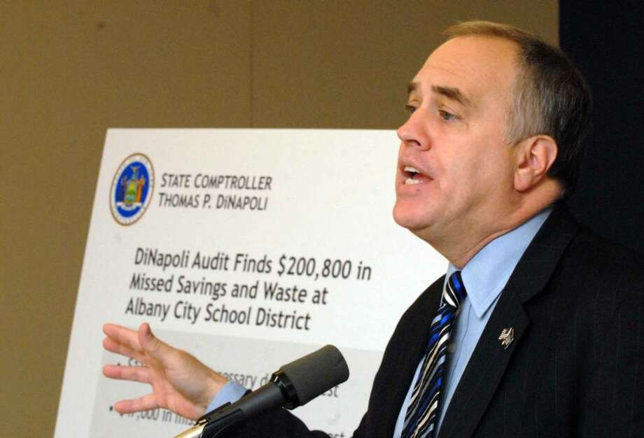 State Comptroller Thomas P. DiNapoli give results of his audit of the Albany City School District at a news conference in Albany on Dec. 11. (Michael P. Farrell/Albany Times Union) Photo: MICHAEL P. FARRELL / 00006790A